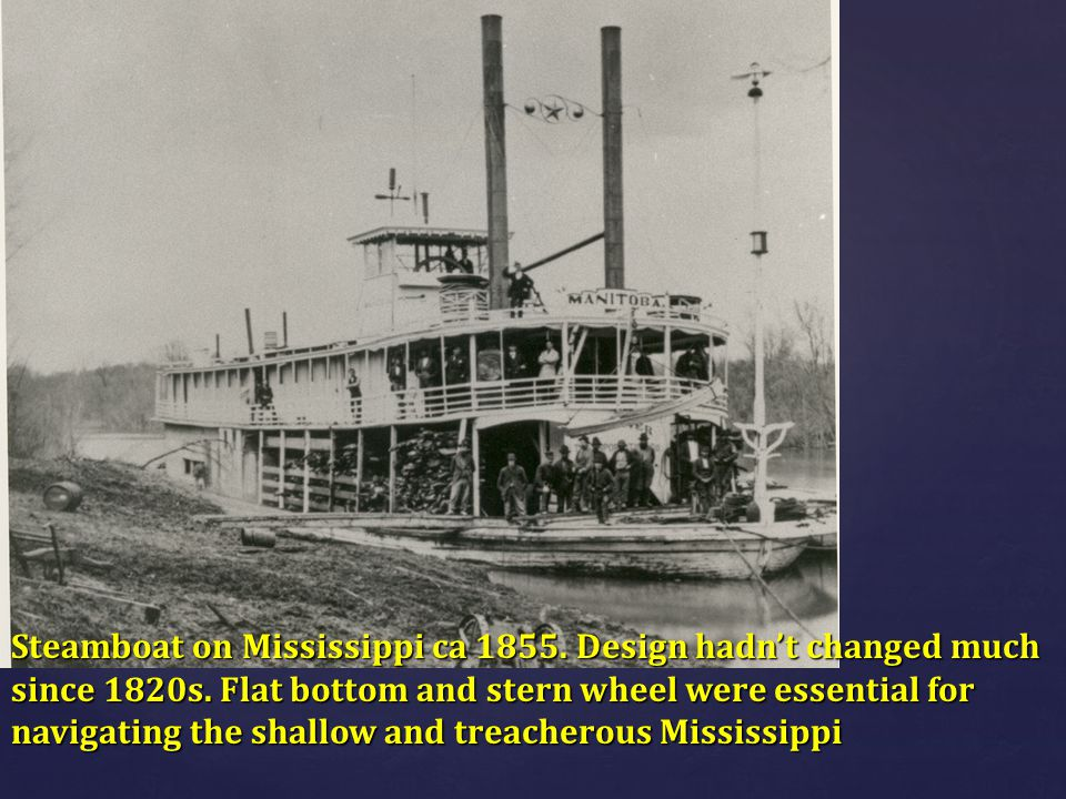 Steamboat on Mississippi ca 1855