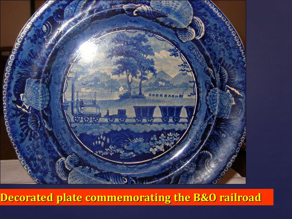 Decorated plate commemorating the B&O railroad