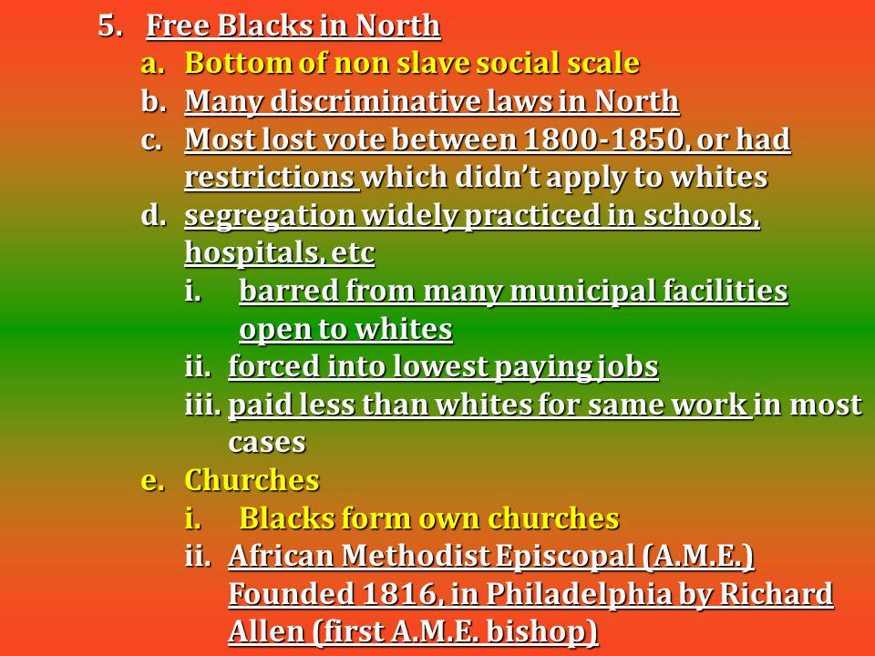 Free Blacks in North Bottom of non slave social scale. Many discriminative laws in North.