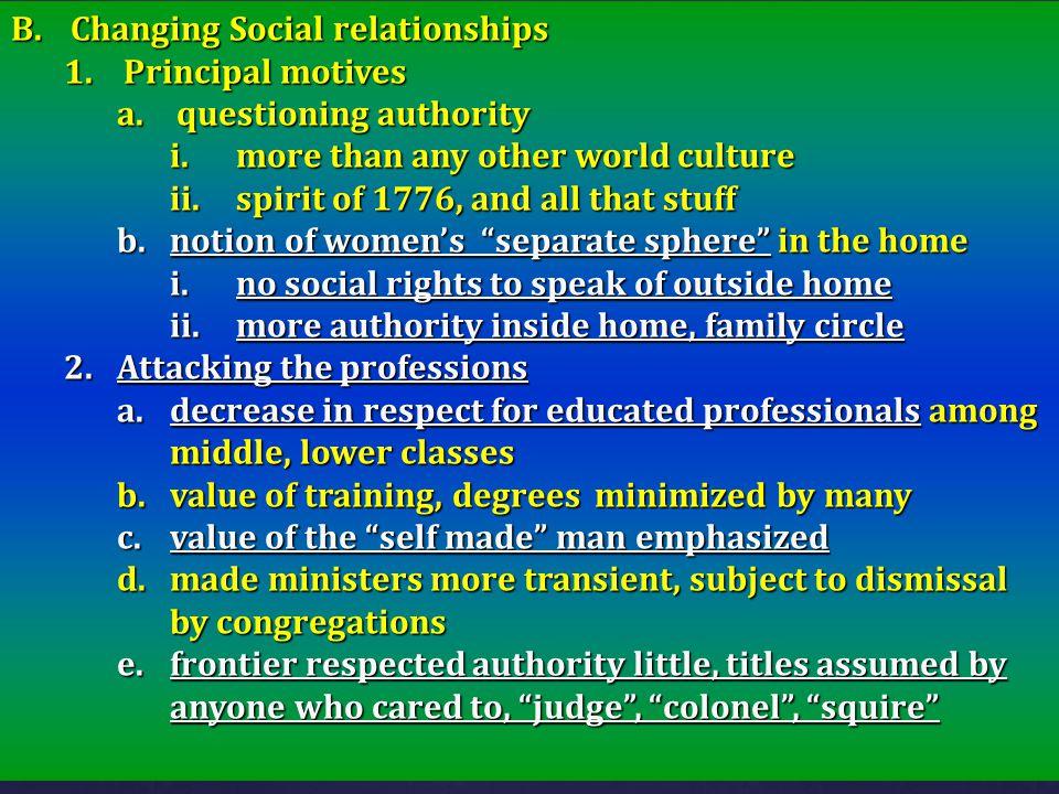 Changing Social relationships