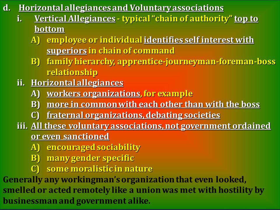 Horizontal allegiances and Voluntary associations