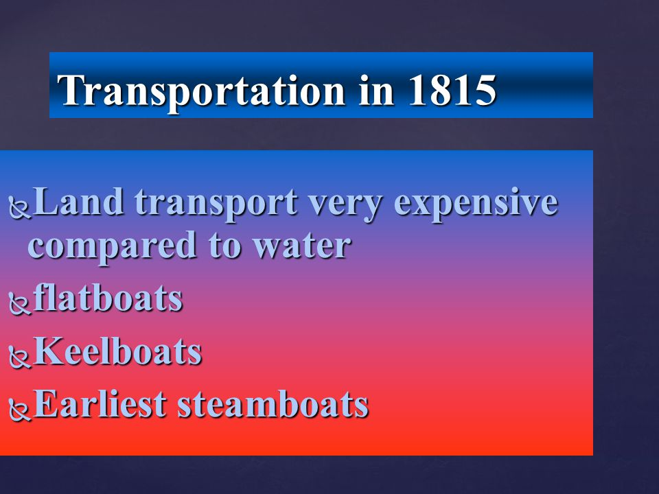 Transportation in 1815 Land transport very expensive compared to water