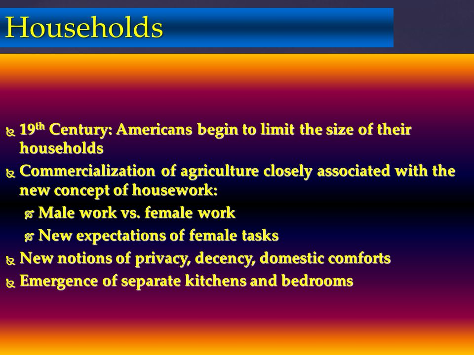Households 19th Century: Americans begin to limit the size of their households.
