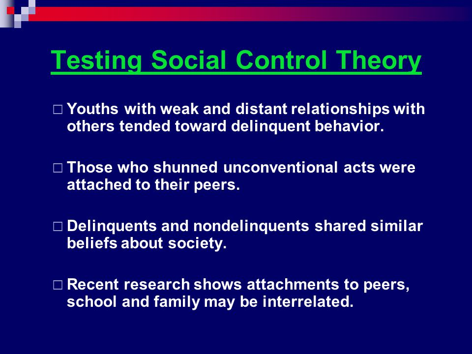 Testing Social Control Theory
