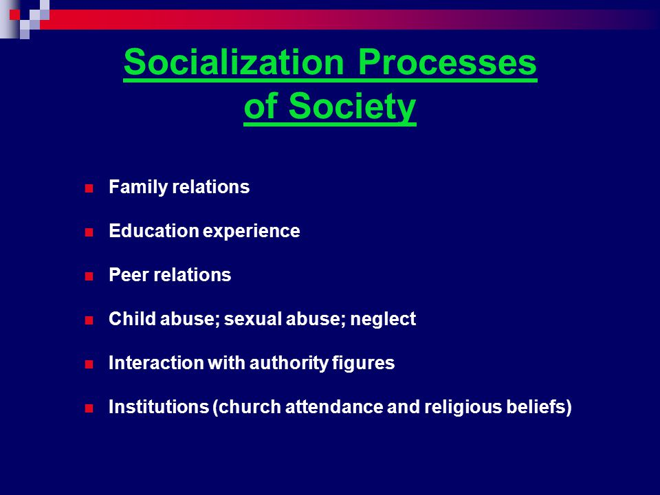 Socialization Processes of Society