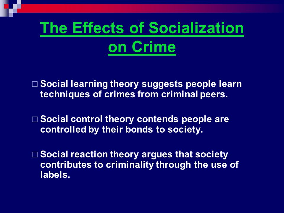 The Effects of Socialization on Crime