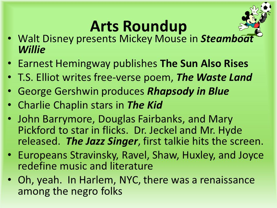 Arts Roundup Walt Disney presents Mickey Mouse in Steamboat Willie