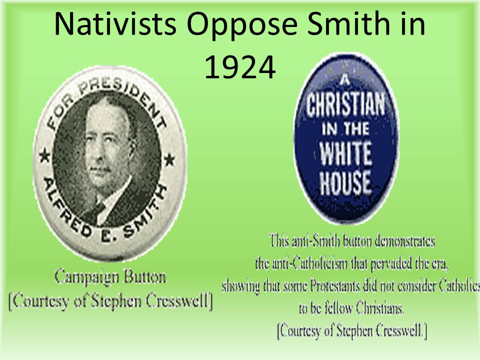 Nativists Oppose Smith in 1924