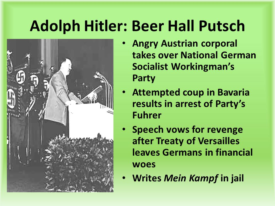 Adolph Hitler: Beer Hall Putsch