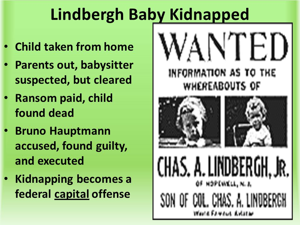 Lindbergh Baby Kidnapped