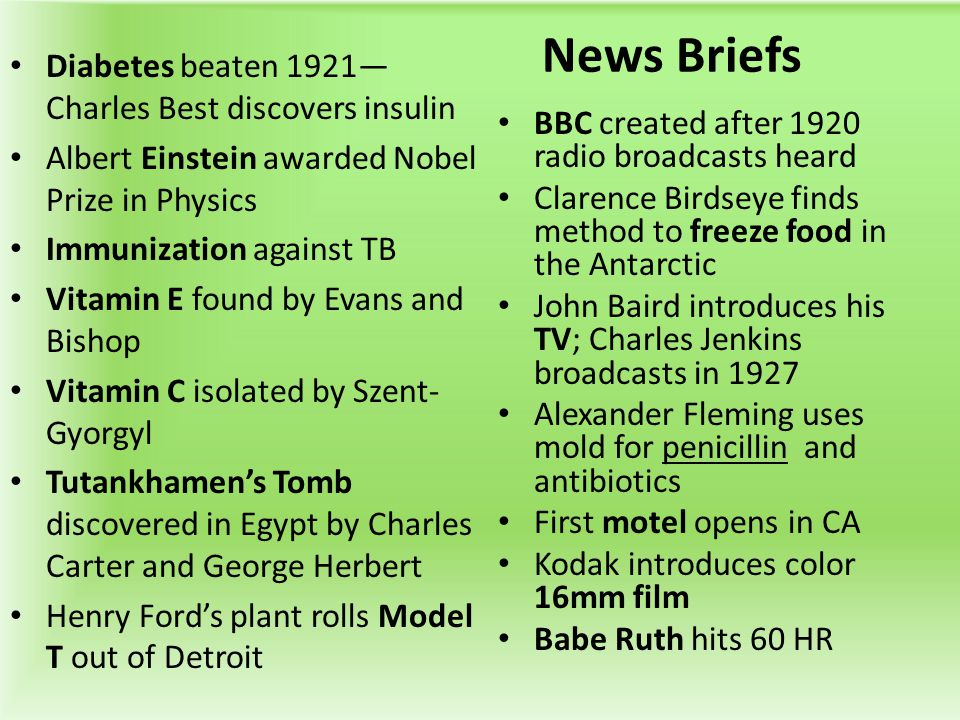 News Briefs Diabetes beaten 1921—Charles Best discovers insulin