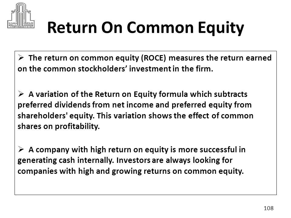 Return On Common Equity