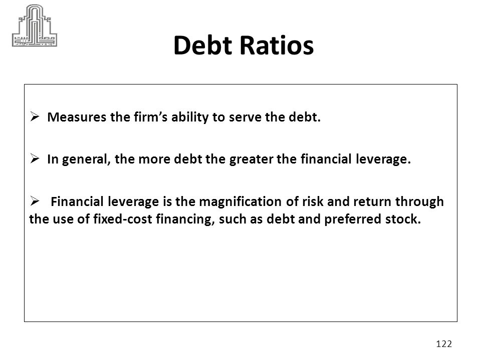 Debt Ratios Measures the firm's ability to serve the debt.