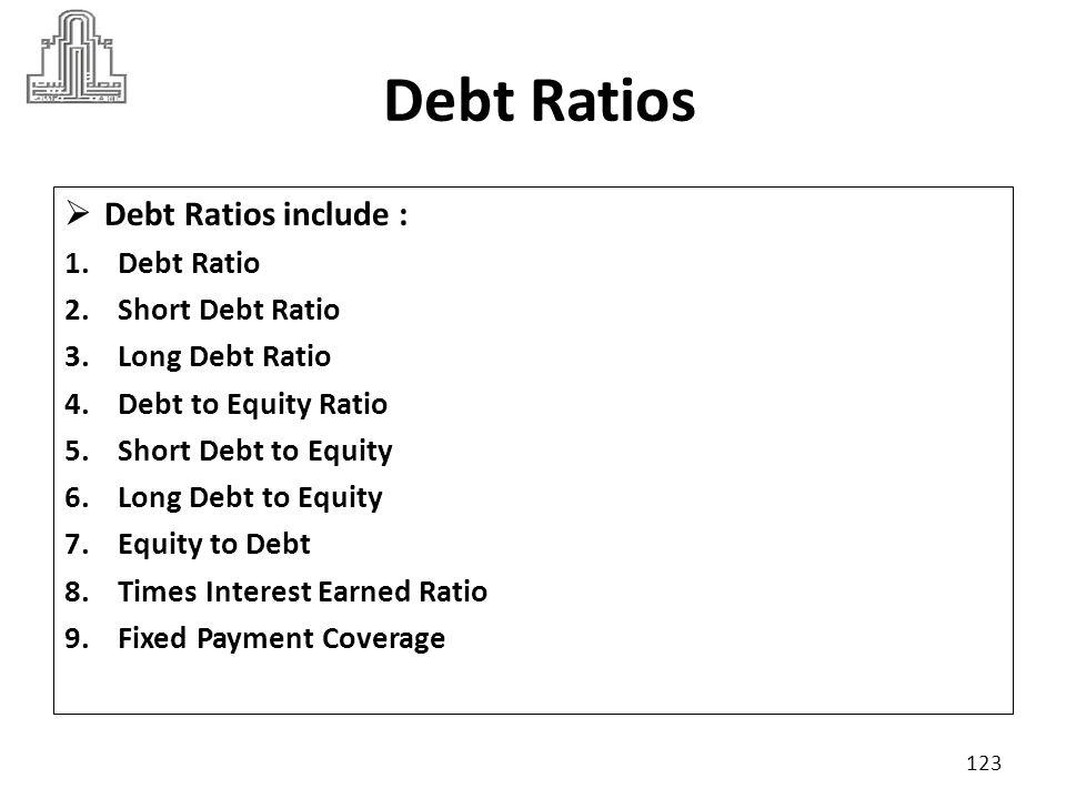 Debt Ratios Debt Ratios include : Debt Ratio Short Debt Ratio