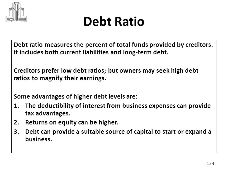Debt Ratio Debt ratio measures the percent of total funds provided by creditors. it includes both current liabilities and long-term debt.