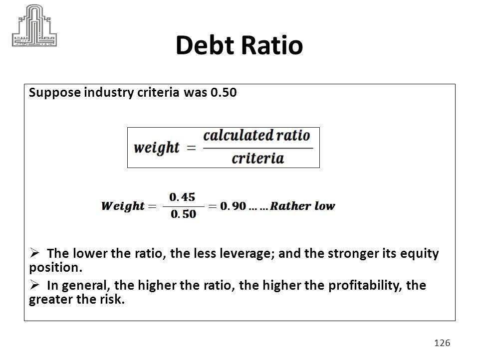Debt Ratio Suppose industry criteria was 0.50