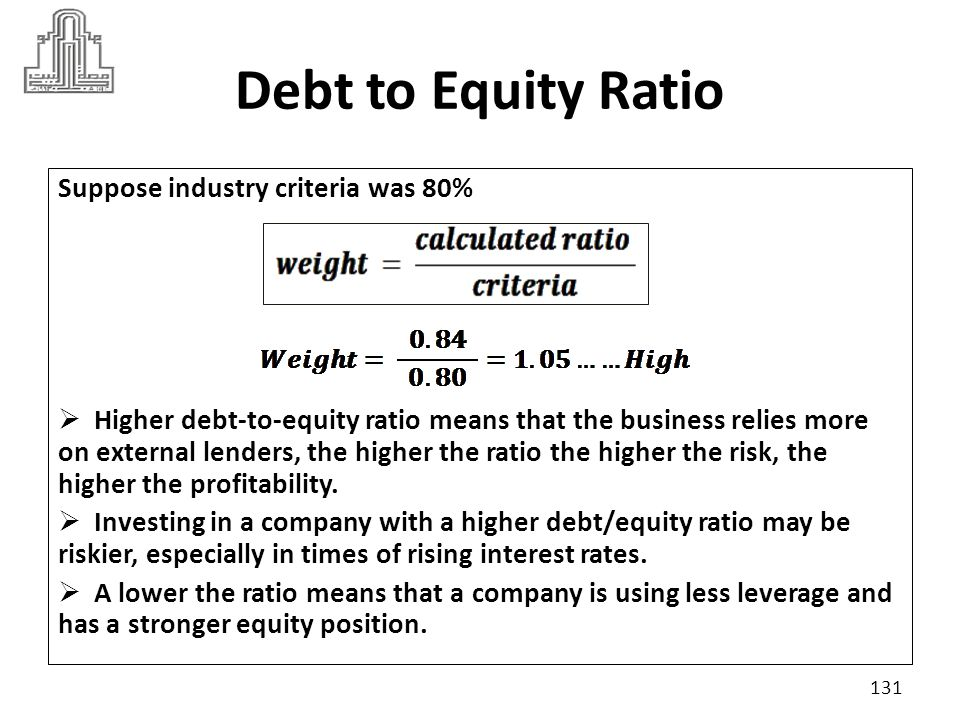 Debt to Equity Ratio Suppose industry criteria was 80%