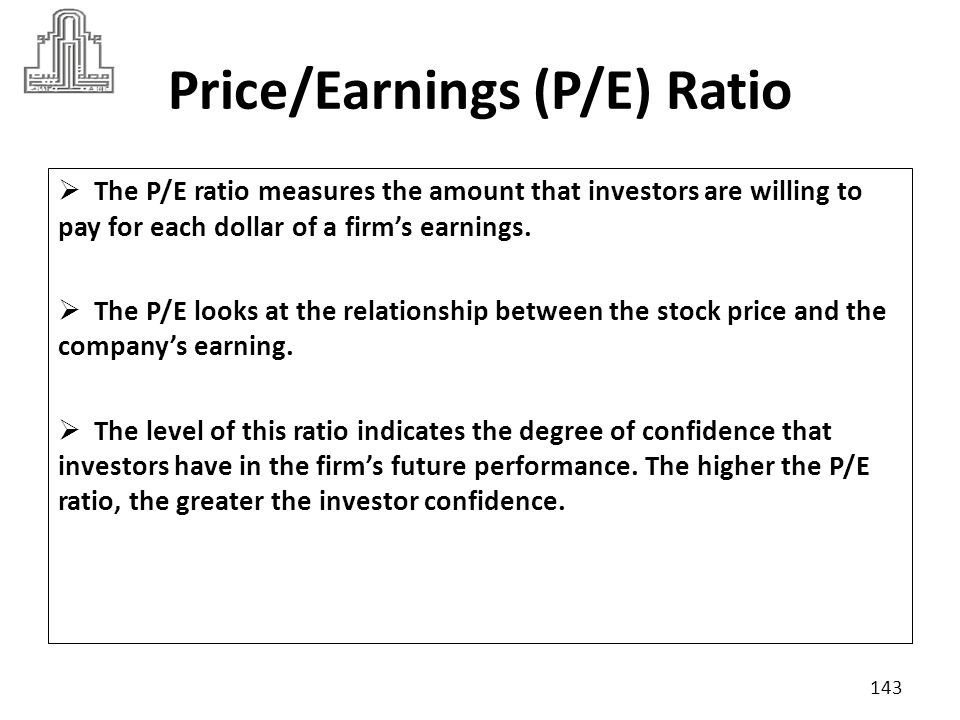 Price/Earnings (P/E) Ratio