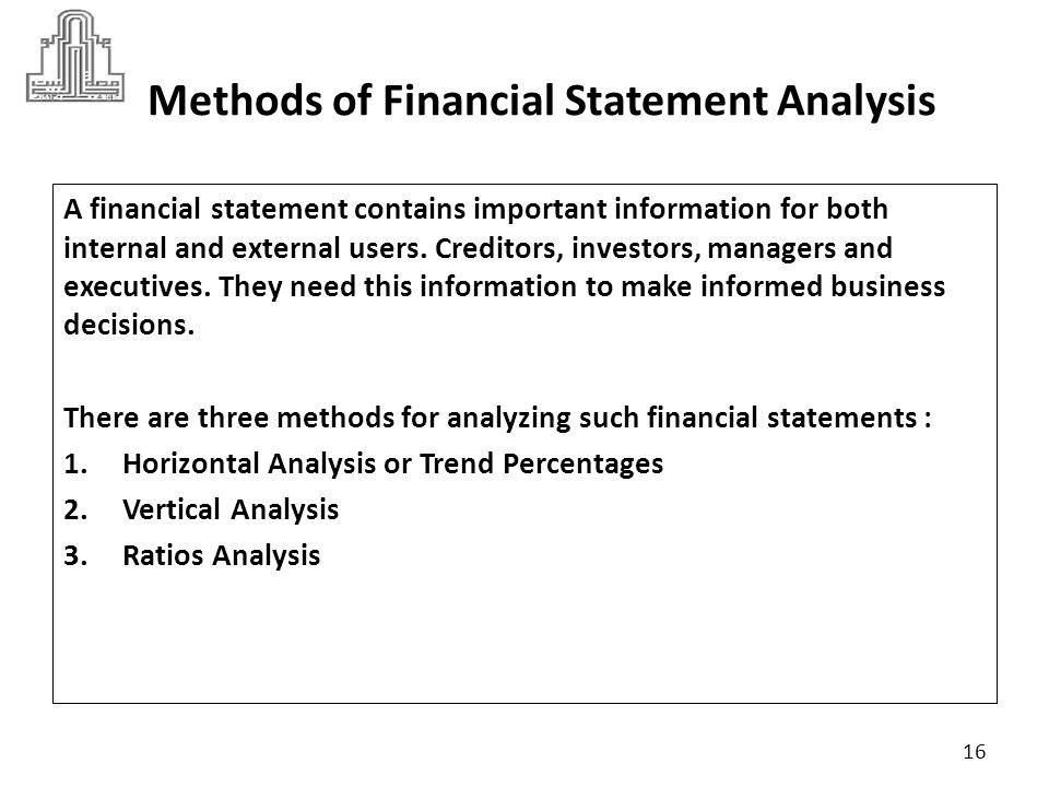 Methods of Financial Statement Analysis