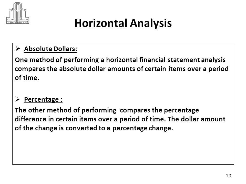 Horizontal Analysis Absolute Dollars: