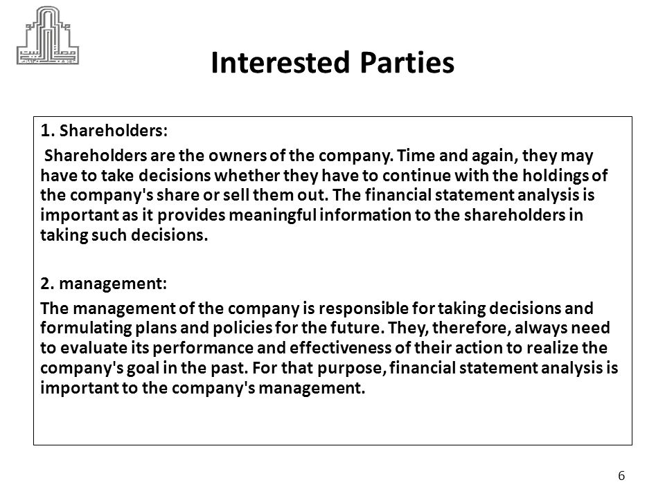 Interested Parties 1. Shareholders: