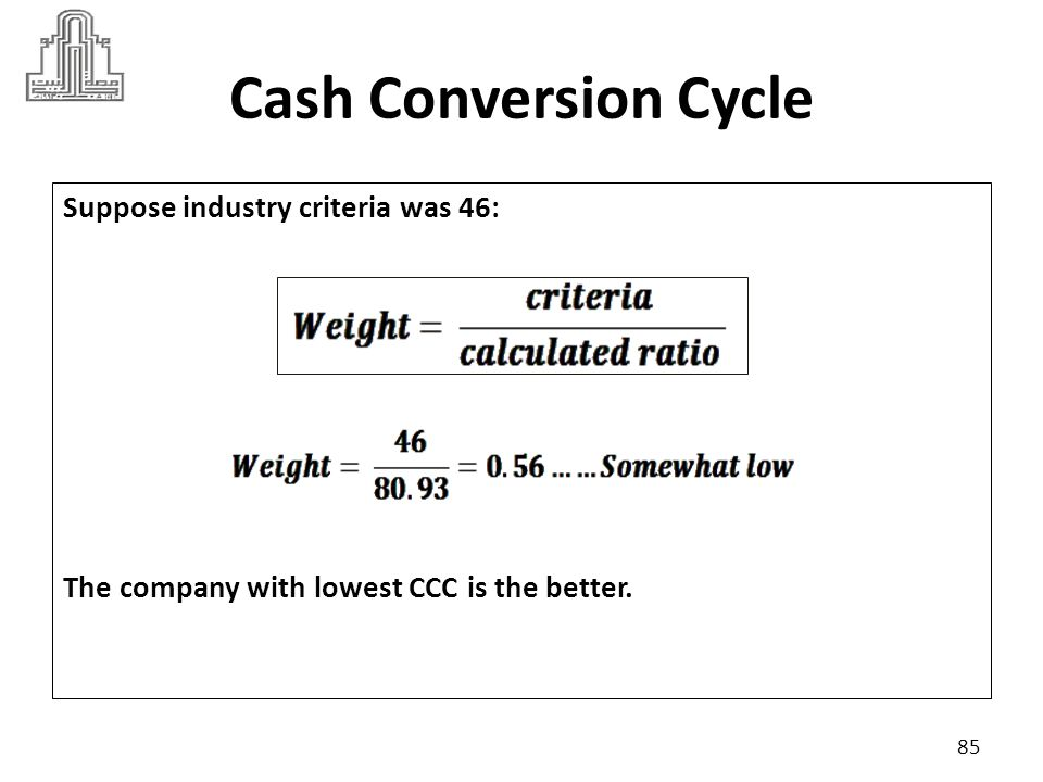 Cash Conversion Cycle Suppose industry criteria was 46: The company with lowest CCC is the better.