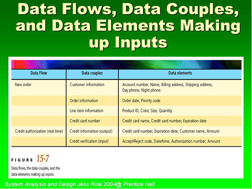 Data Flows, Data Couples, and Data Elements Making up Inputs