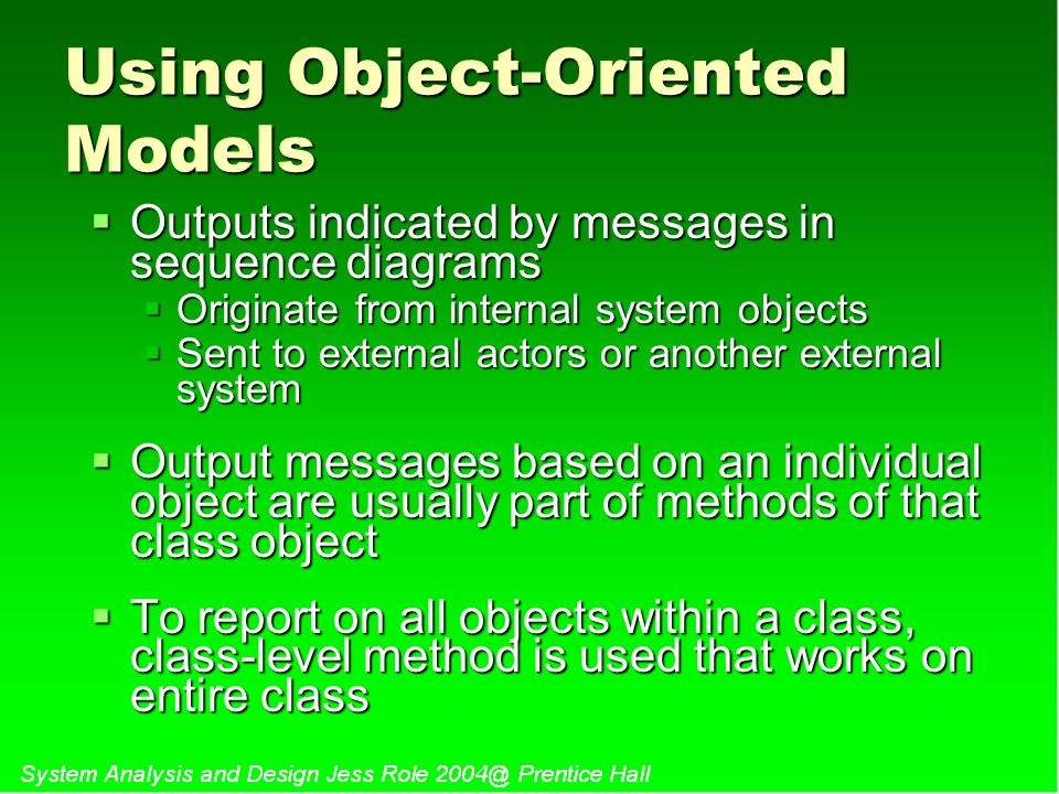 Using Object-Oriented Models