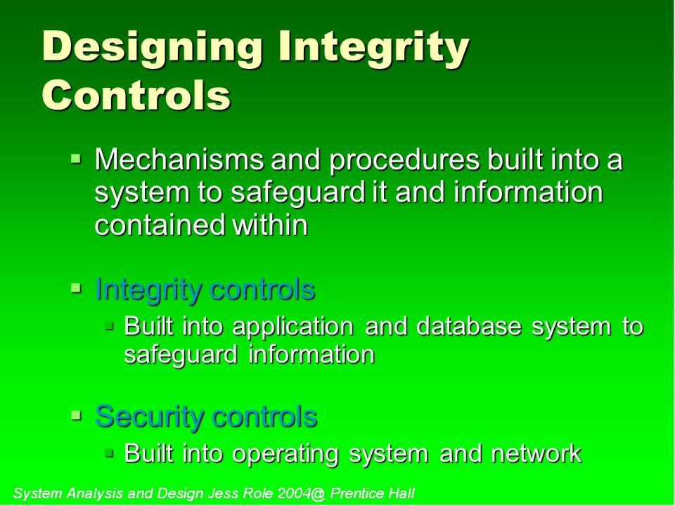 Designing Integrity Controls