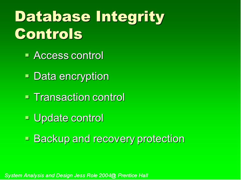 Database Integrity Controls