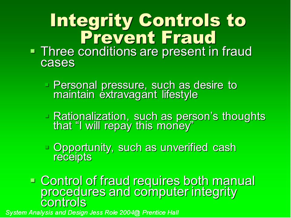 Integrity Controls to Prevent Fraud