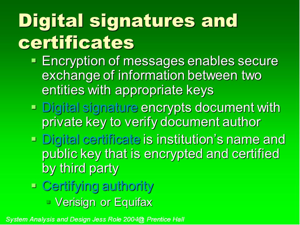 Digital signatures and certificates