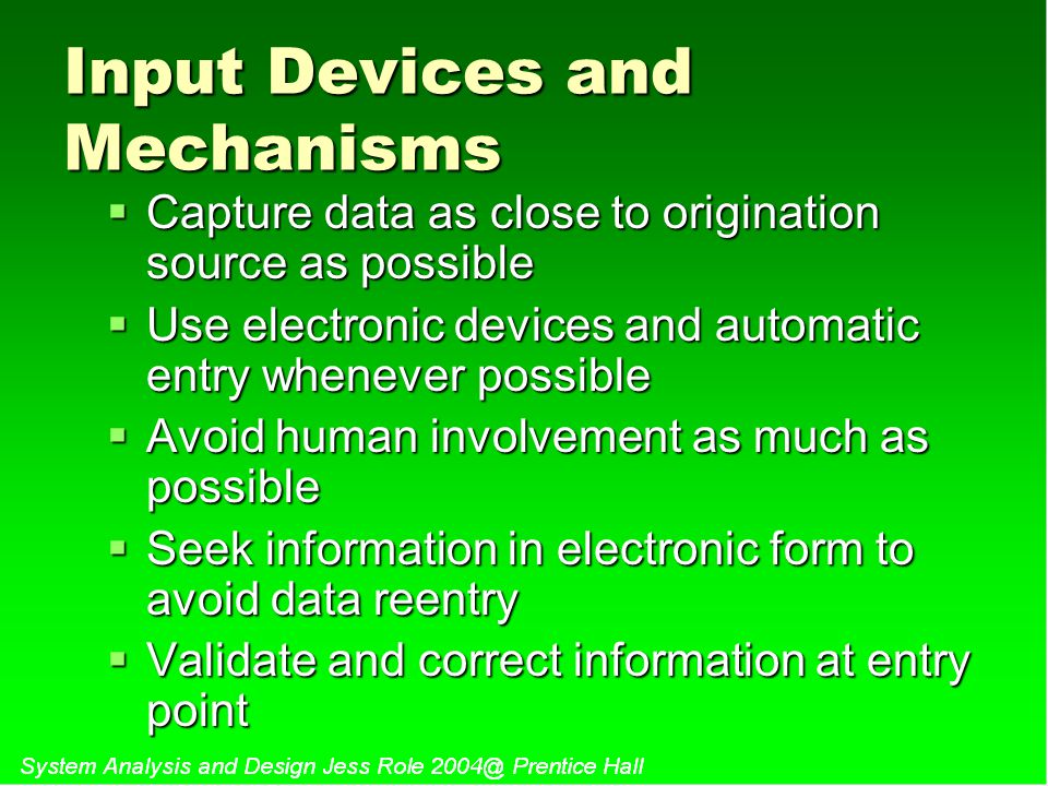 Input Devices and Mechanisms