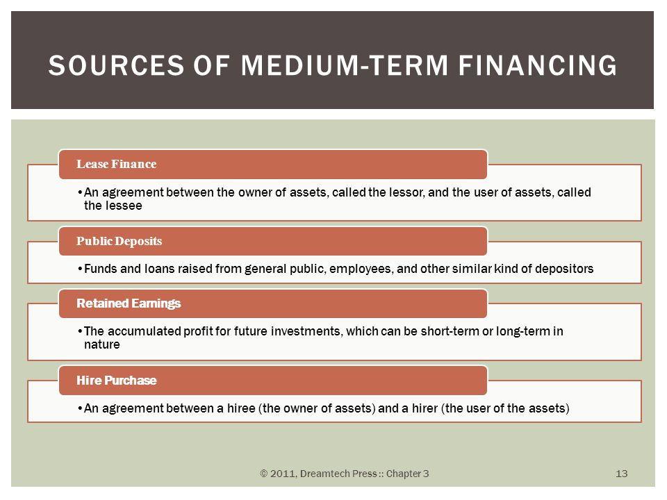 short medium and long term sources of finance Module -4 business finance business s tudies 29 notes in the previous lesson you learnt about the various methods of raising long-term finance normally the methods of raising finance are also termed as the sources of finance but, as a matter of fact the methods refer only to the forms in which the.