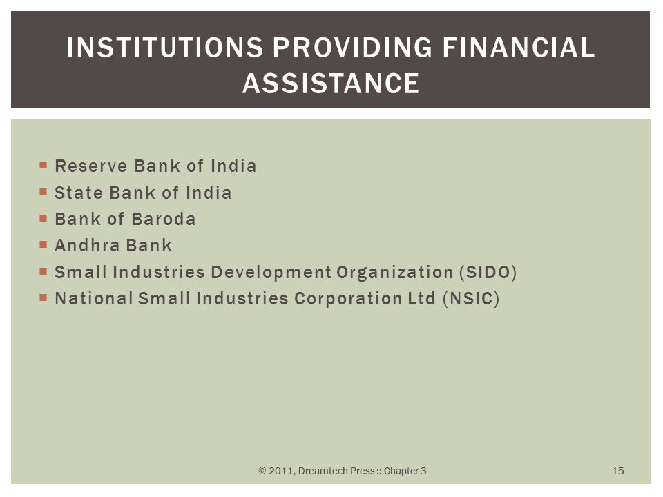 Institutions Providing Financial Assistance