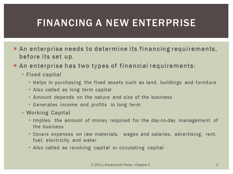 Financing a new enterprise