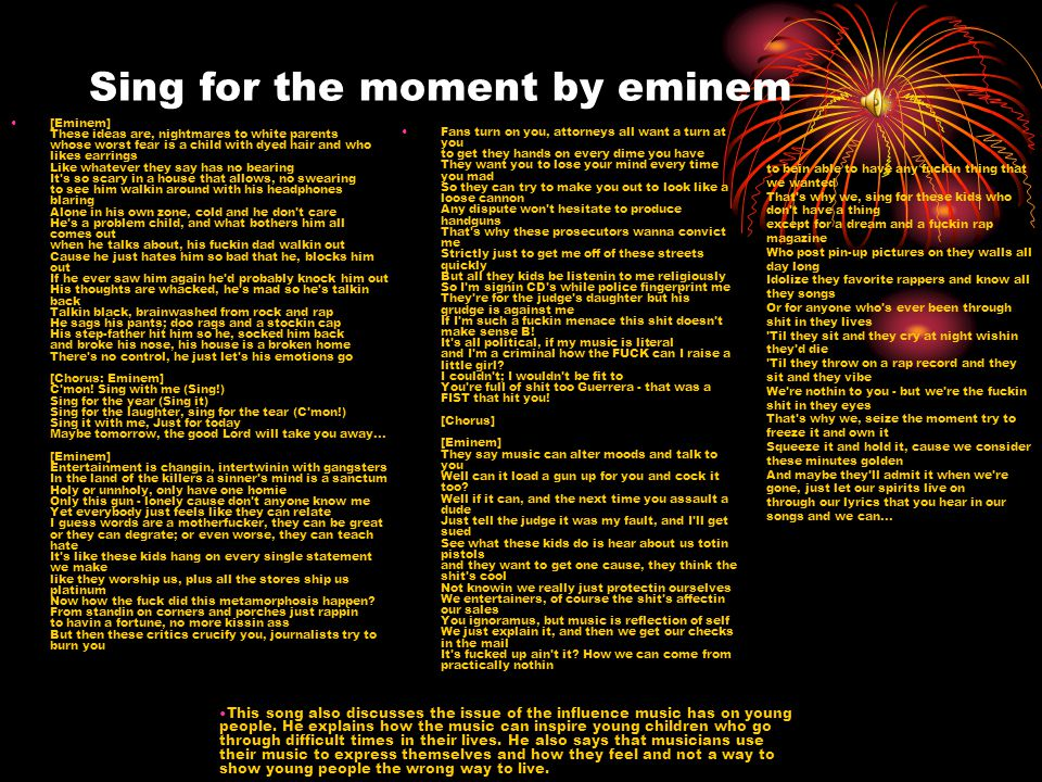 Sing for the moment by eminem