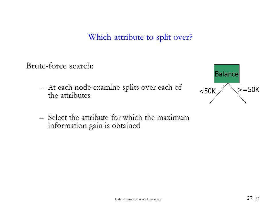 Which attribute to split over