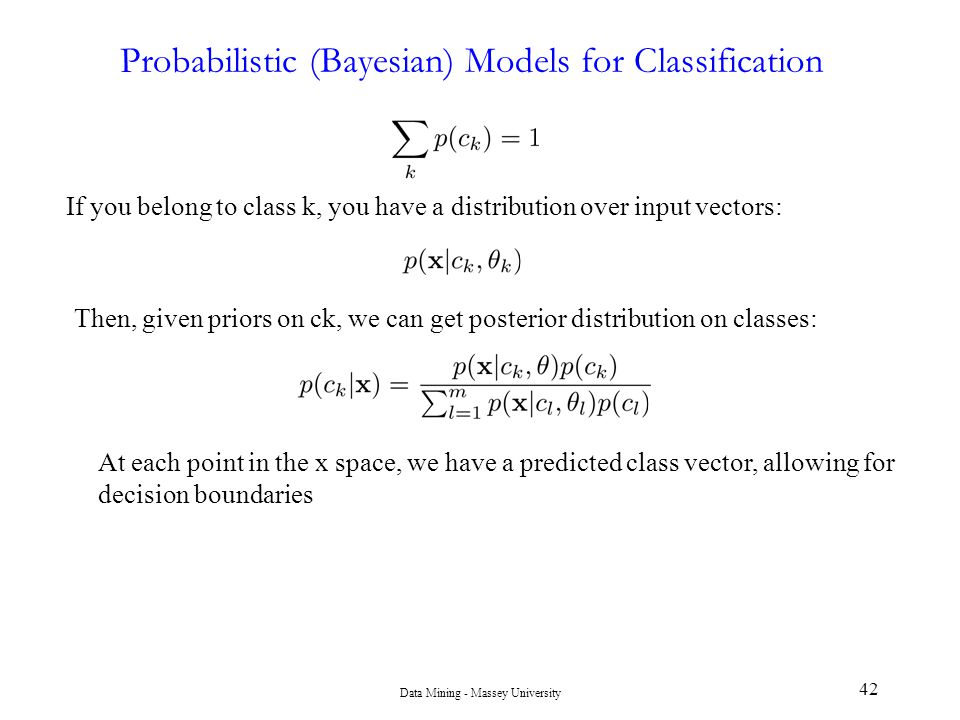 Probabilistic (Bayesian) Models for Classification