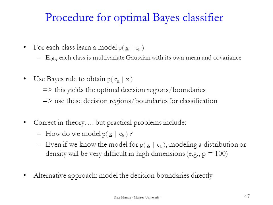 Procedure for optimal Bayes classifier