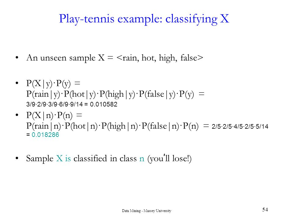 Play-tennis example: classifying X