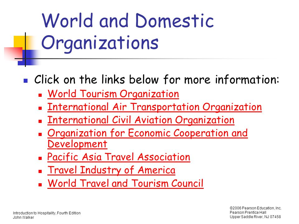 World and Domestic Organizations