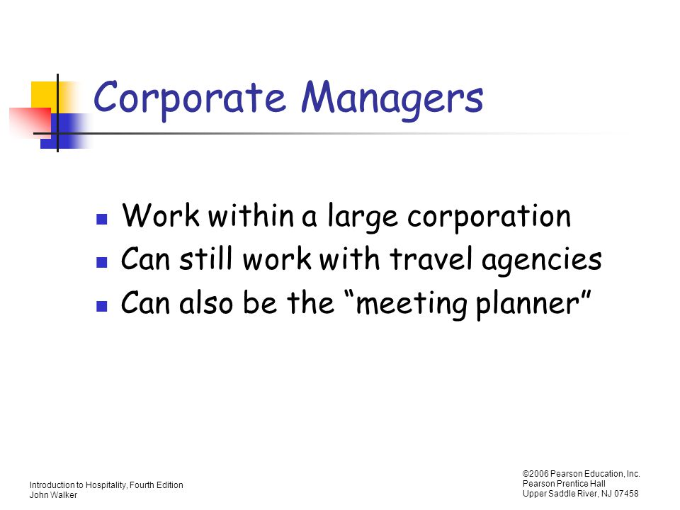 Corporate Managers Work within a large corporation