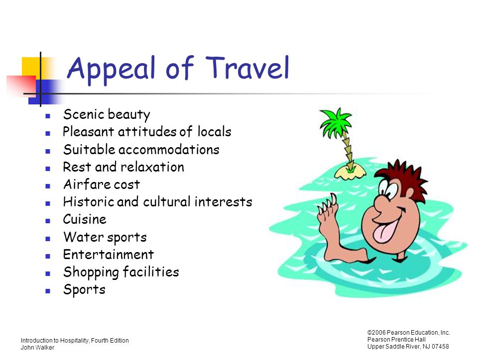 Appeal of Travel Scenic beauty Pleasant attitudes of locals