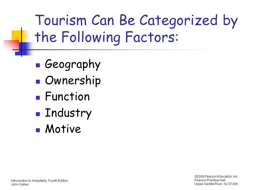 Tourism Can Be Categorized by the Following Factors: