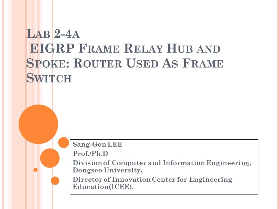 Lab 2-4a EIGRP Frame Relay Hub and Spoke: Router Used As Frame Switch
