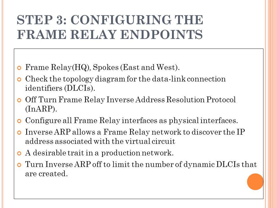 STEP 3: CONFIGURING THE FRAME RELAY ENDPOINTS