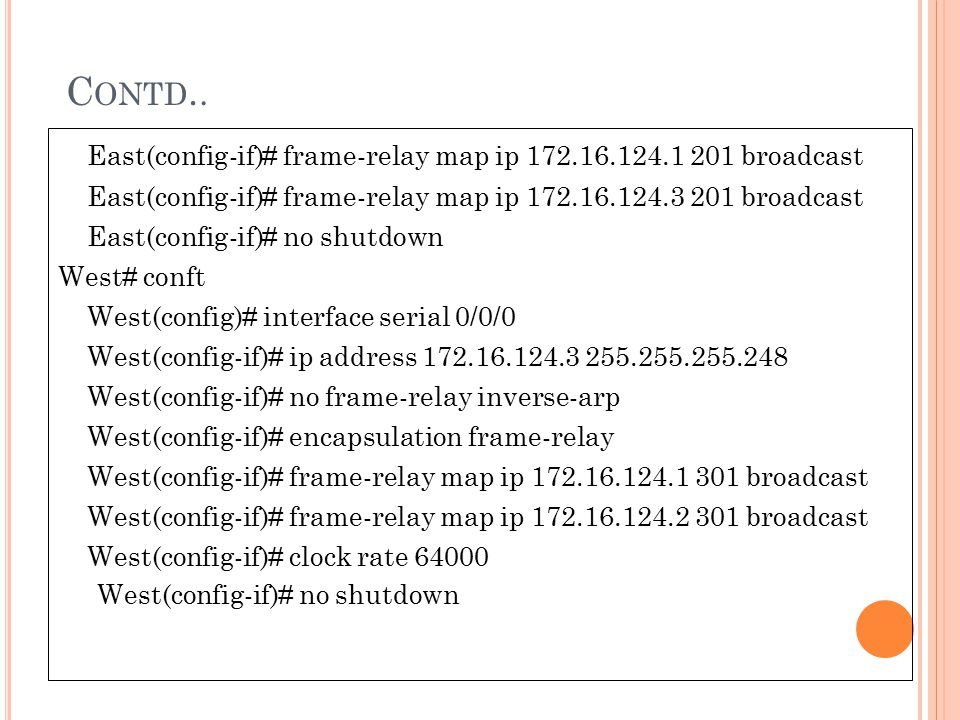 Contd.. East(config-if)# frame-relay map ip 172.16.124.1 201 broadcast