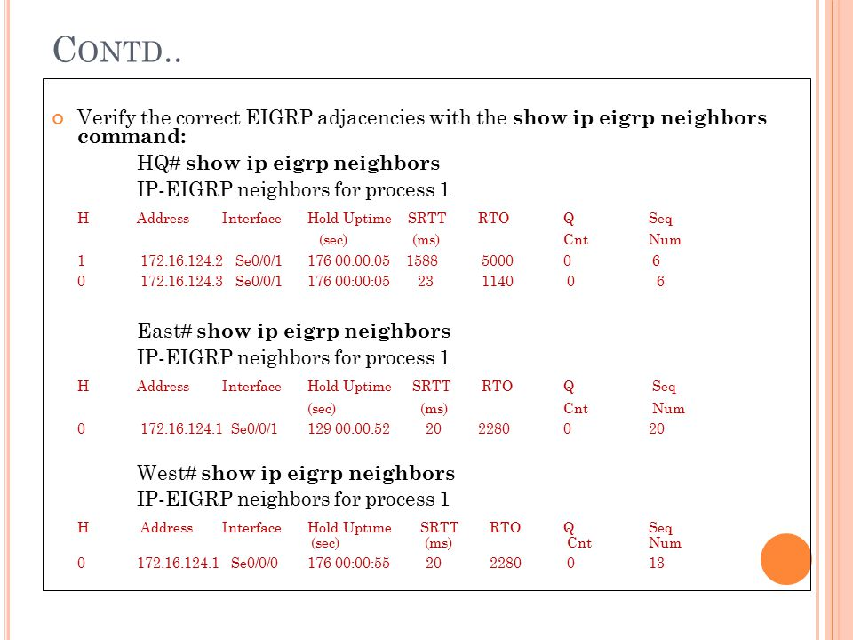 Contd.. Verify the correct EIGRP adjacencies with the show ip eigrp neighbors command: HQ# show ip eigrp neighbors.