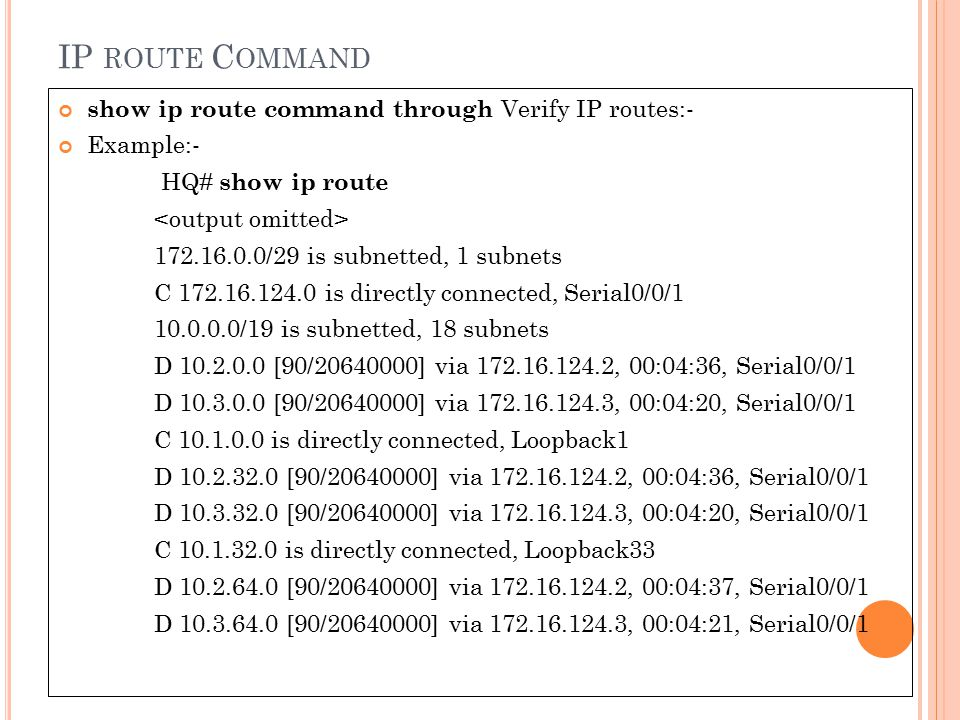 IP route Command show ip route command through Verify IP routes:-